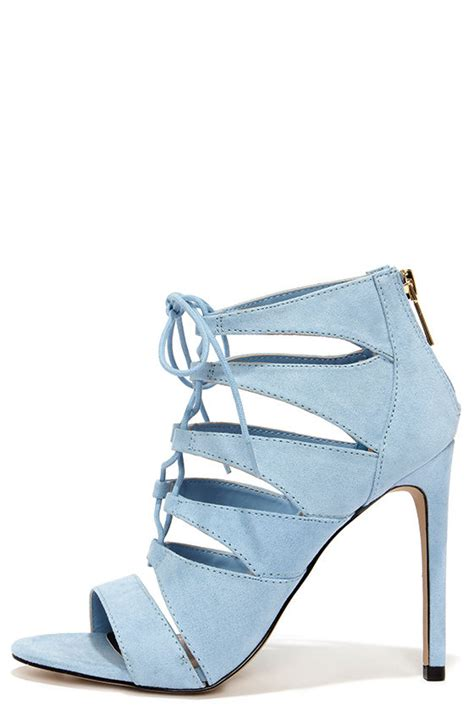 baby blue heels lace up heels caged heels 49 00