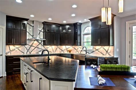 transitional kitchen boasts dark cabinetry large island hgtv