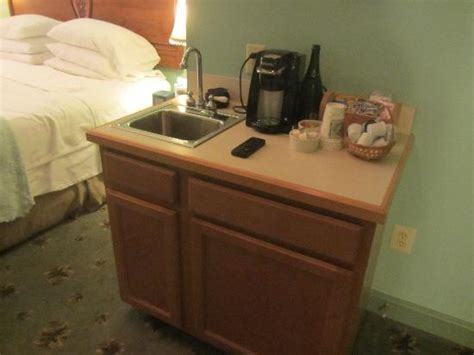 Mini Bar Sink Mini Bar With Fridge Sink And K Cups Picture Of