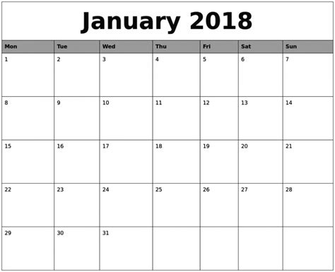 2018 calendar template printable january 2018 calendar printable template free printable