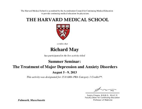 Dr. Richard May   Harvard Medical School CME Certificate