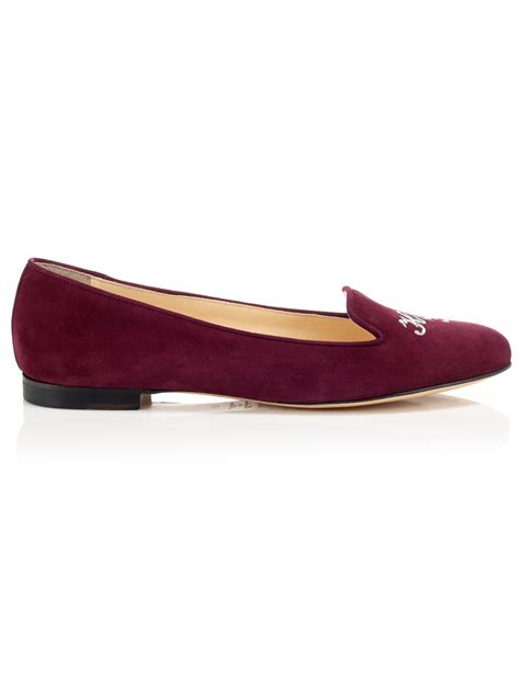 burgundy loafers for schoshoes burgundy suede helene loafers in lyst