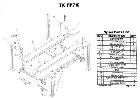 fpk parts breakdown replacement parts   post lift diagrams  auto lifts   parts