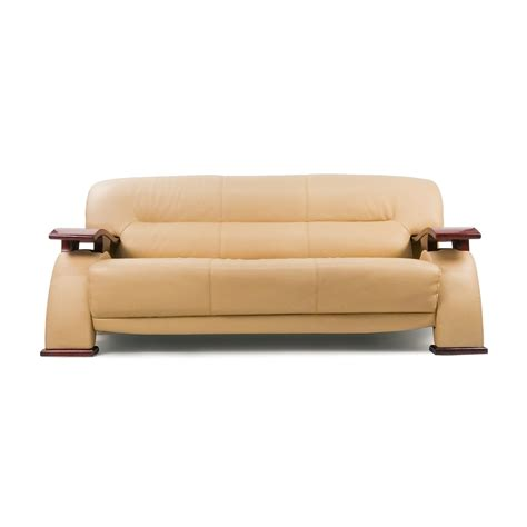 84 unknown brand contemporary beige leather sofa