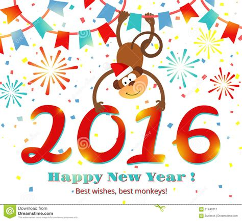 new year 2016 monkey message new year 2016 monkey vector card stock vector image