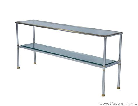 Glass And Chrome Console Table Polished Chrome And Glass Console Table For Sale At 1stdibs