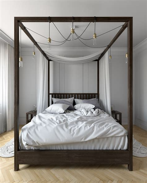Modern Canopy Bed Modern Canopy Bed Bedroom Eclectic With Wood Trim White Wall Mirrors