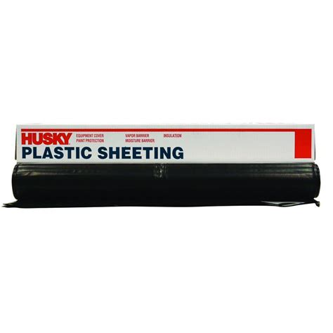 Home Depot 6 Mil Plastic by Husky 50 Ft X 12 Ft Black 6 Mil Plastic Sheeting Cf0612