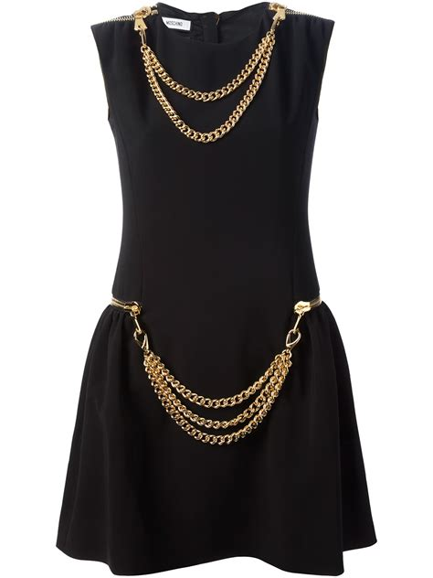 Dress Mocshino B lyst moschino chain detailed dress in black