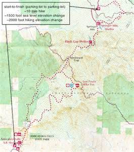 springer mountain map hiking amicalola falls to springer mountain logiclander