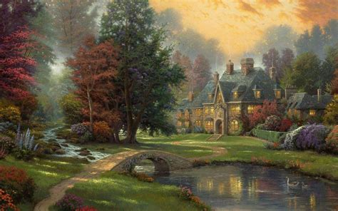 wallpapers landscape thomas kinkade painting hd wallpapers