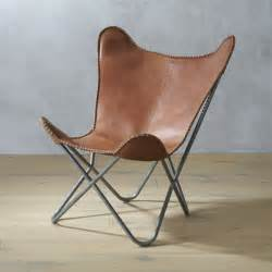 Leather Butterfly Chair by 1938 Tobacco Leather Butterfly Chair Cb2