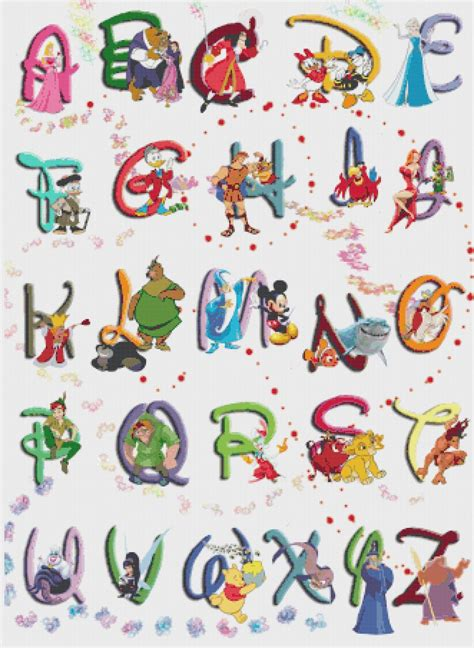 Character With Letter Y Alphabet Disney Characters 2 23 64 Quot X 32 36 Quot Cross Stitch Pattern Pdf C828