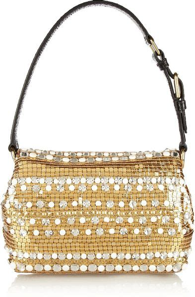 Dolce Gabbana Medium Fabric Bag In Ivory by Dolce Gabbana Dolce Medium Ayerstrimmed Embellished