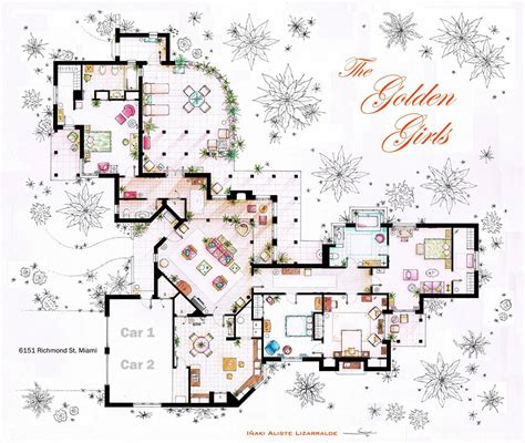 artist draws detailed floor plans of tv shows