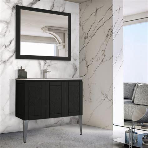 Mobile Bagno Nero Mobile Bagno Nero 90 Cm Design Elegante Lavabo Ceramica E