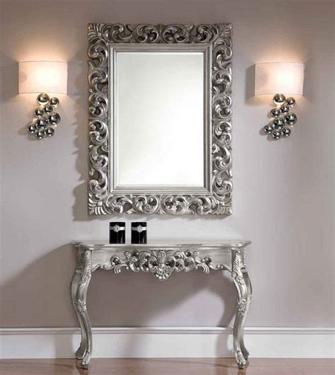Console And Mirror Set In Silver Traditional Side Sofa Table And Mirror Set