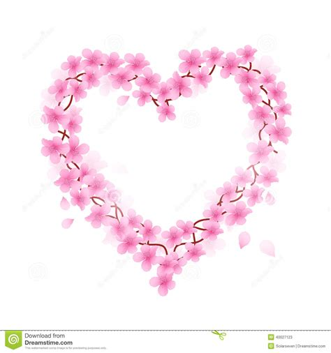 cherry blossom heart stock vector image 40027123