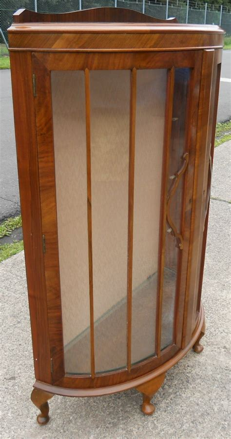 Bowfront Walnut China Display Cabinet   SOLD