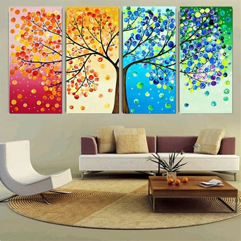 Handmade Home Decoration Items - diy handmade colorful season tree counted cross stitch