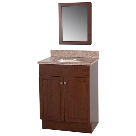 glacier bay 24 in w wrap vanity in auburn with vanity top
