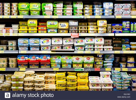 Shelf Of Butter shelf with food in a supermarket milk products butter