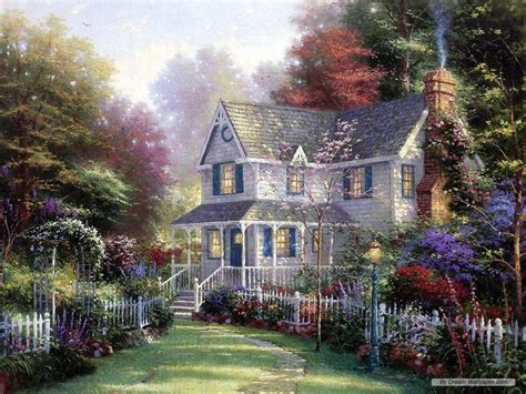 Country Cottage Cross Stitch free thomas kinkade wallpapers for desktop wallpaper cave