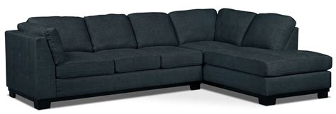 Oakdale 2 Piece Linen Look Fabric Right Facing Sectional Denim Sofa Sectional