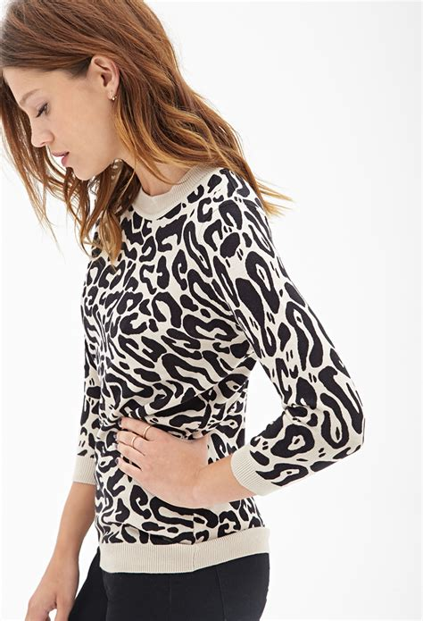 print crew neck sweater forever 21 leopard print crew neck sweater in black lyst
