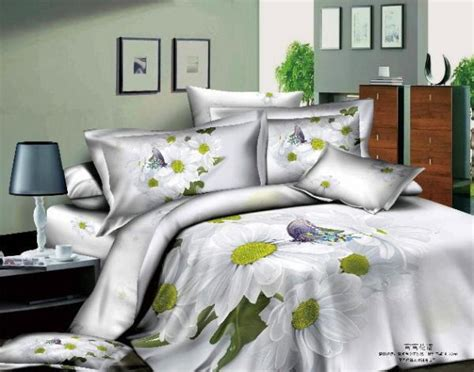 Bed Bigland Flora White 3d white flower floral bedding set size purple