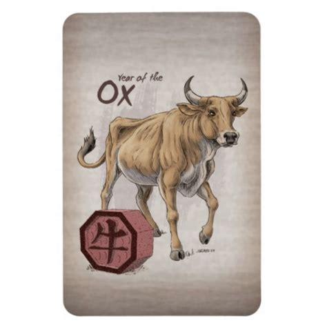 new year ox animal year of the ox zodiac rectangular photo magnet
