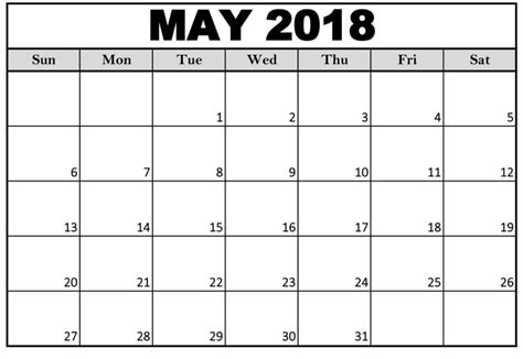 blank calendar template 2018 uk printable may 2018 calendar blank printable templates