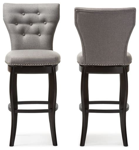 restaurant furniture bar stools leonice fabric button tufted 29 inch swivel bar stool