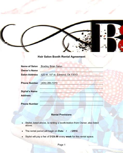 booth rental agreement fillable printable