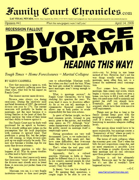 Divorce Newsletter Divorce Tsunami Heading This Way Family Court Chronicles 41