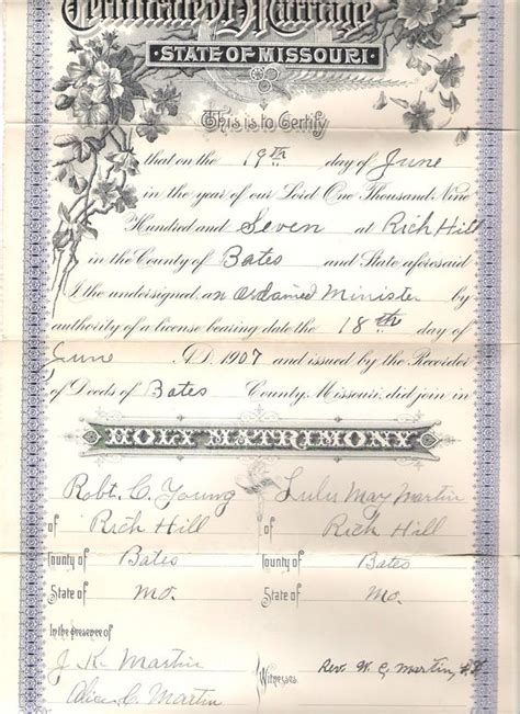 Marriage Records For Missouri Missouri Robert Ri Chard And Grandparents On