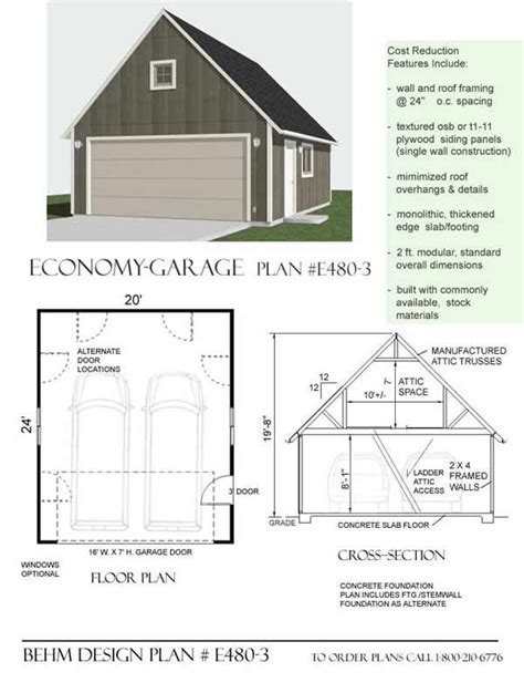 double car garage plans economy 2 car garage with attic plan e480 3 by behm design