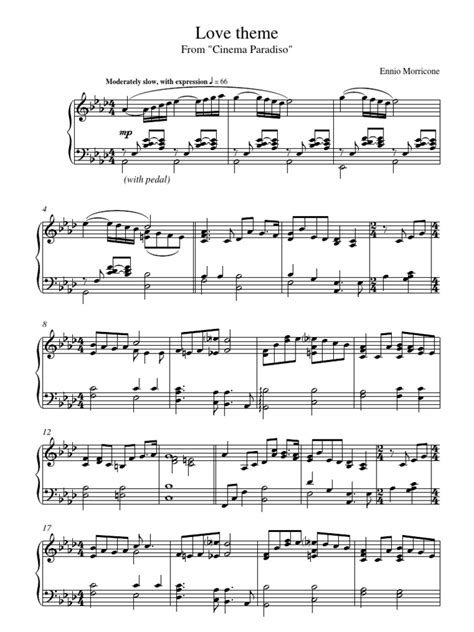 love theme morricone cinema paradiso love theme piano sheet music