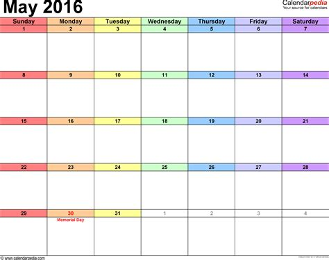may 2016 calendars for word excel pdf