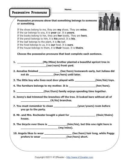 Pronoun Worksheets 7th Grade by 15 Best Images Of Subject Pronouns Worksheet 4th Grade Possessive Pronouns Worksheets 3rd