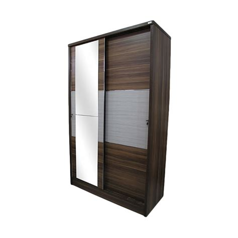 jual creova lemari pakaian sliding cermin coklat harga kualitas terjamin blibli