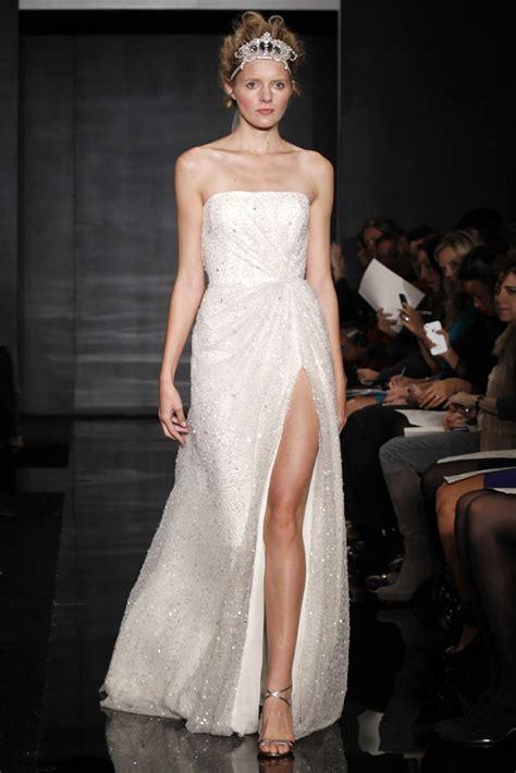 strapless wedding dress with thigh high slit   Sang Maestro