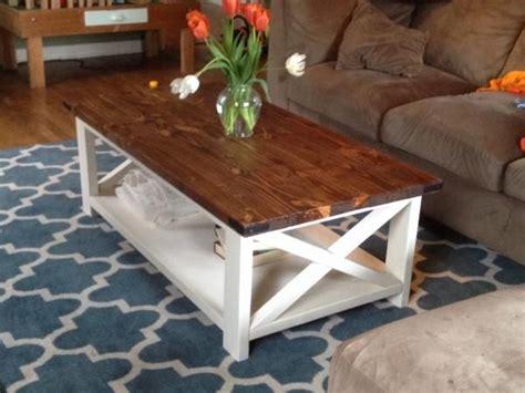 Two Tone Coffee Table Farmhouse Style X 2x4 Industrial Farmhouse Style Coffee Table