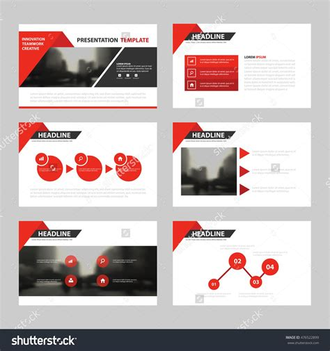 Red Triangle Presentation Templates Infographic Elements Template Flat Design Set For Annual Presentation Flyer Template