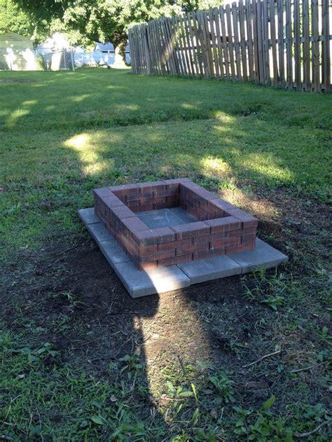 diy brick fire pit     gray cement