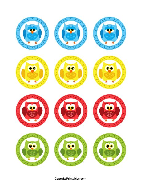 free printable owl cupcake wrappers owl cupcake toppers use the circles for cupcakes party