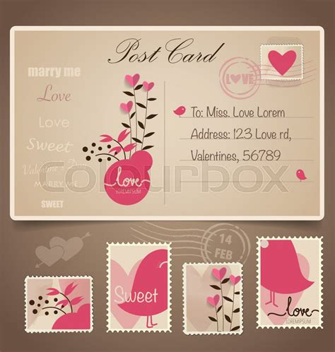 Wedding Card Graphic Design by Vintage Postcard Background And Postage Sts For