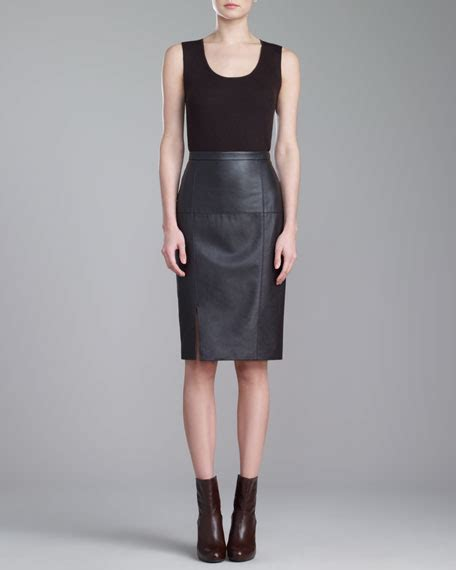 st collection soft napa leather pencil skirt mahogany