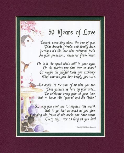 50 Years of Love, #119, Touching Poem. A Gift For A 50th