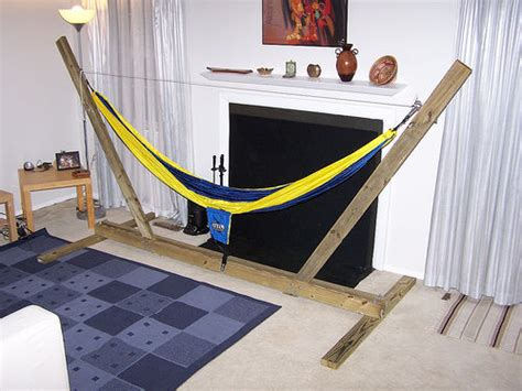 Indoor Hammock With Stand Diy Wood Hammock Chair Stand Woodguides